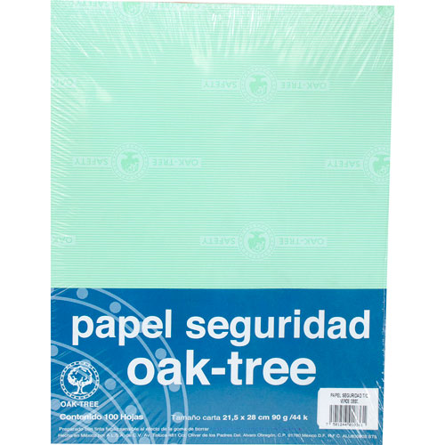 Oak Tree | PAPEL SEGURIDAD OAK TREE DE 90 G TAMAÑO CARTA PAQUETE CON 100 | lumen.com.mx