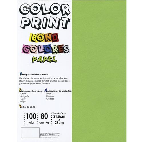 Papel Color Print De 80 G Tamano Carta Paquete Con 100