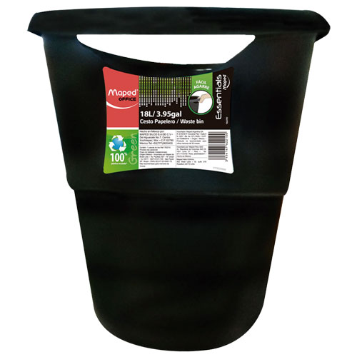 imagen-CESTO PARA BASURA MAPED 762210 18L NEGRO ESSENTIALS GREEN