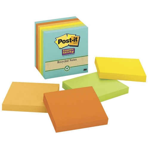 imagen-NOTAS AUTOADHERIBLES POST-IT 76X76MM RECICLADAS NEON C/390