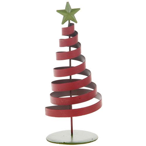 adorno navidad arbol espiral metal xcm rojoverde