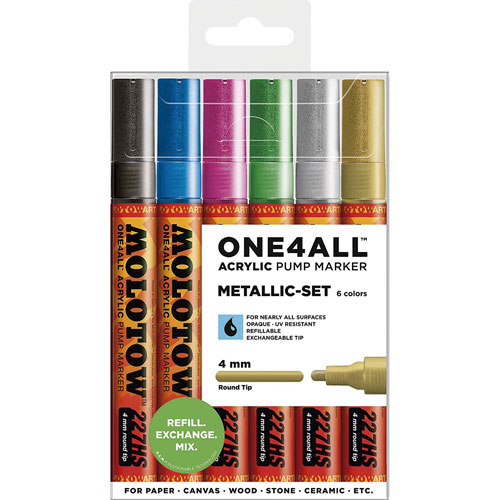 Molotow | MARCADOR MOLOTOW ONE4ALL METALLIC 4 MM CON 6 | lumen.com.mx