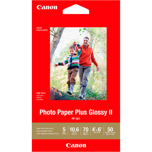 imagen-PAPEL CANON PP-301 PLUS GLOSSY II 4X6PLG PAQUETE CON 50