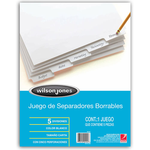 imagen-SEPARADOR BORRABLE WILSON AND JONES 5 DIVISIONES